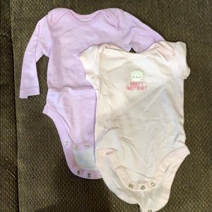 2 The Children's Place 0-3m girl onesies